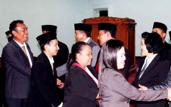 Pelantikan pejabat di lingkungan Pemkab Pulang Pisau beberapa waktu lalu. BORNEONEWS/JAMES DONNY