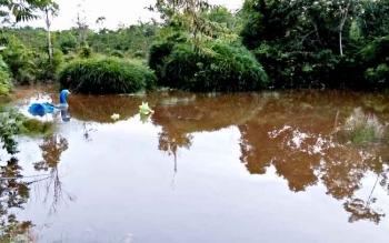 Lokasi taman Kota Puruk Cahu yang tak terawat. BORNEONEWS/SUPRI ADI