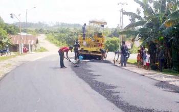 Pembangunan jalan di Lamandau. BORNEONEWS/HENDY NURFALAH