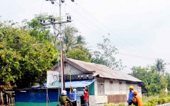 Petugas PLN Rayon Sukamara memperbaiki jaringan listrik yang mengalami gangguan. BORNEONEWS/NORHASANAH