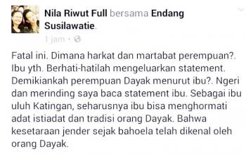 Gambar Screenshot status di akuN Facebook yang ditulis Nila Riwut yang menyesalkan sikap pasrah Endang Susilawatie. Status itu mendapat respon dari berbagai pihak termasuk Endang. (BORNEONEWS/TESTI PRISCILLA)