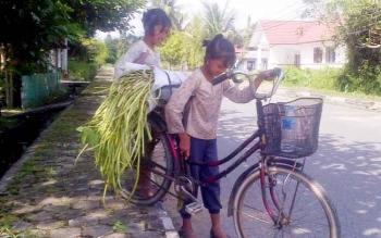 Ais dan Nina menjual sulur untuk biaya sekolah dan uang jajan. (BORNEO/DOK)