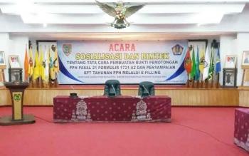 pajak Penghasilan- Pemprov Sosialisasikan pajak penghasilan di AJT Selasa pagi.