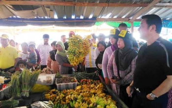 Calon bupati Kotawaringin Barat, Hj Nurhidayah didampingi koordinator pemenangan Nurani H.M Ruslan dan Pengusaha nasional H. Abdul Rasyid menyambangi para pedagang di Pasar Tembaga Indah, Selasa (24/1/2017). BORNEONEWS/KOKO SULISTYO