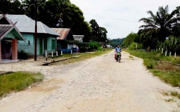Suasana di Desa Dawak Kecamatan Kotawaringin Lama, Kabupaten Kotawaringin Barat. Jalan yang menghubungkan desa ini dengan wilayah terdekat, SP3 Suka Jaya rusak parah, dan usulan pembangunannya melalui musrenbang, belum ditanggapi. (BORNEONEWS/IWANUDDIN)