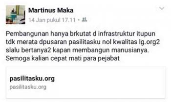 Capture postingan anggota DPRD Lamandau, Martinus Maka, di Facebook yang dinilai mengganggu kenyamanan Aparatur Sipil Negara Pemkab Lamandau.