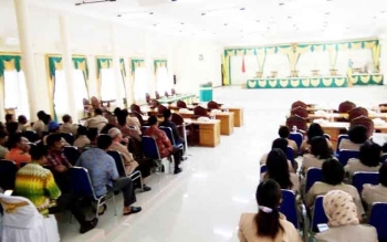 Tampak sejumlah tamu undangan telah hadir di arena sidang, DPRD Lamandau, di Nanga Bulik, Jumat (27/1/2017).