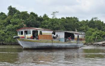 Feri Penyeberangan dari Pelabuhan Anjir Sampit Desa Buntoi.