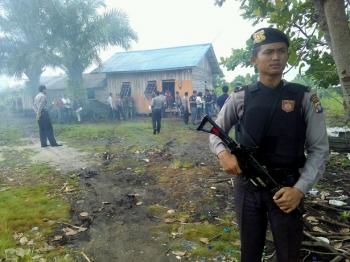 Proses rekonstruksi pembunuhan di Jalan Tenggiri dijara ketat oleh aparat Polres Palangka Raya dan Polda Kalteng, Minggu (29/1/2017) pagi pukul 09.30 WIB.
