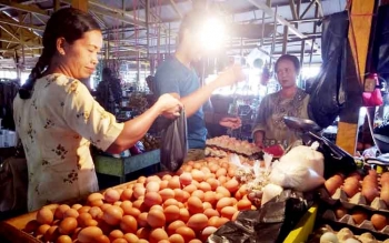 Pedagang telur ayam di pasar Saik Sukamara saat melayani pembeli.