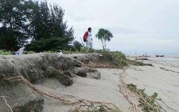 Dodi, Warga Desa Kalap, Teluk Sampit, sedang berdiri di tepi Pantai Ujung Pandaran yang tergerus abrasi.