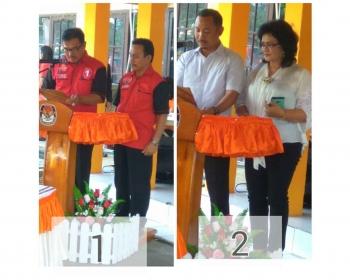 Pasangan calon bupati dan wakil bupati Barito Selatan nomor urut 1 dan 2.