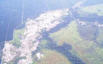 Gambar lokasi tambang yang diambil dari udara oleh Balai TNTP.