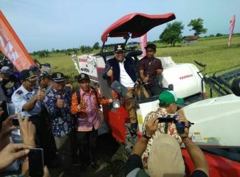 Bupati Katingan Ahmad Yantenglie bersama para petani Desa Jaya Makmur saat panen raya padi menggunakan mesin.