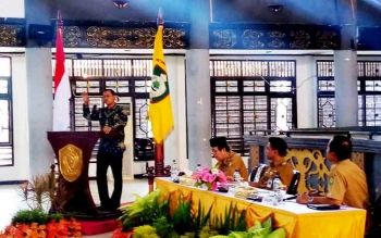 Wawan Wardiana, Plt Koordinator Unit Korsupgah KPK RI saat menyampaikan paparannya, Selasa (7/2/2017).