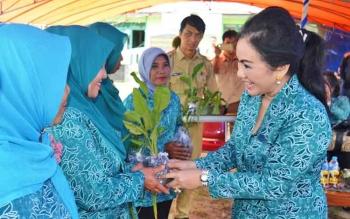 Ketua TP PKK Kabupaten Kapuas Ary Egahni Ben Bahat saat memberikan bibit tanaman kepada perwakilan guru PAUD dan kepala desa, Selasa (7/2/2017), di Kecamatan Kapuas Kuala.