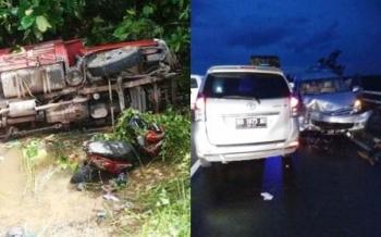 Dua peristiwa kecelakaan lalu lintas terjadi dalam satu hari di Jalan Lintas Kalimantan poros selatan ruas Pulang Pisau Minggu (12/2/2017)