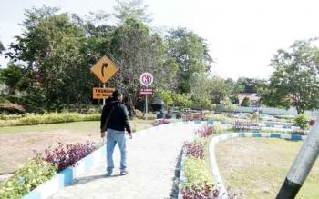 Area taman bermain di Nanga Bulik yang disulap menjadi tempat edukasi lalu lintas.