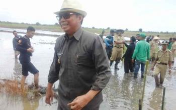Bupati Seruyan Sudarsono saat mengikuti kegiatan tanam padi bersama di Desa Mekar Indah, Selasa (14/2/2017).
