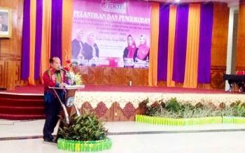 Wakil Bupati Mura, Darmaji saat menyampaikan sambutan saat acara pengukuhan IPEMI, Kamis (16/2/2017)