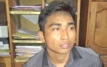 Pipik Rahman saat diamankan di Polres Barito Utara, Jumat (17/2/2017)