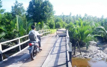 Anak sekolah sedang melintas di jembatan di Desa Sungai Tabuk, Kecamatan Pantai Lunci Kabupaten Sukamara.