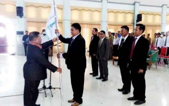 Pelantikan pengurus DPK Apindo Kabupaten Gunung Mas masa bakti 2016-2021 di GPU Damang Batu, Kuala Kurun, Senin (20/2/2017).