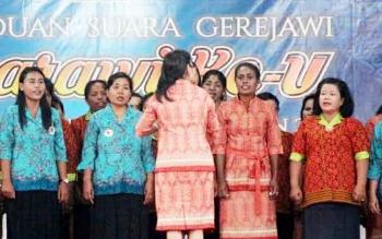 Kontingen Pesparawi di Kabupaten Lamandau saat lomba pada Pesparawi tingkat kabupaten, beberapa waktu lalu.