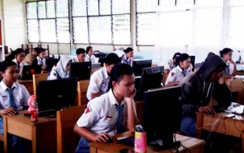 Try out UNBK di salah satu sekolah di Kabupaten Pulang Pisau.