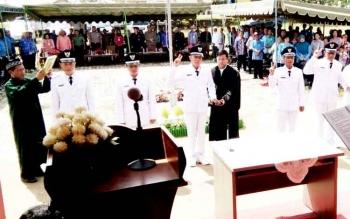 Sejumlah kades terpilih di Kecamatan Bulik saat dilantik, beberapa waktu lalu