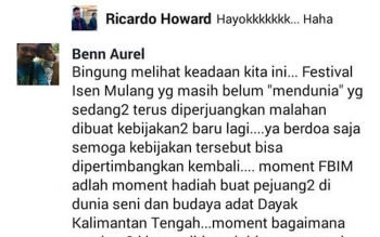 Status dan komentar Benny Tundan.