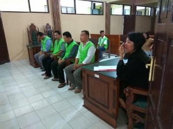 Para terdakwa sampaikan pembelaan lisan di Pengadilan Negeri Palangka Raya, Selasa (21/2/2017)