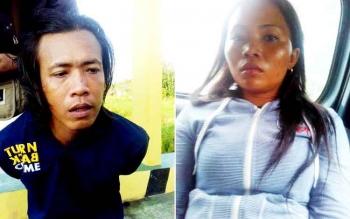 Wandi alias Adi dan Norhalimah alias Imah ditangkap polisi karena berusaha mencuri di sebuah warung di jalan lintas Kalimantan, Senin (20/2/2017).