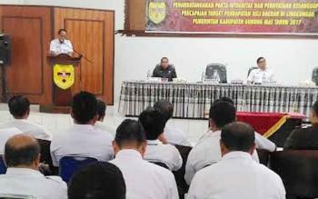 Bupati Gunung Mas, Arton S Dohong memberikan sambutan, RABU (22/2/2017)