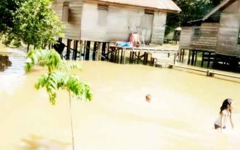 Beberapa anak di Kelurahan Pangkut bermain di air luapan Sungai Arut baru-baru ini. Pada Sabtu (18/2/2017) kelurahan ini tergenang banjir setinggi 1,2 meter.