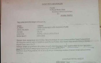 Inilah surat pengunduran diri Kades Linon Besi II