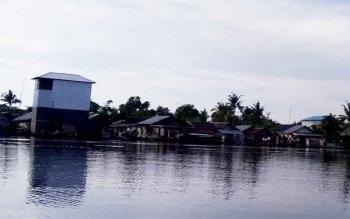 Suasana Desa Pulau Nibung tampak dari Sungai Jelai.