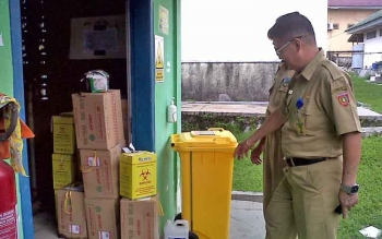 Tempat penyimpanan sementara limbah medis RSUD Sultan Imanuddin Pangkalan Bun.