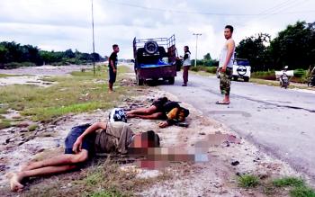 Inilah korban tabrakan balapan liar di jalan lintas Pangkalan Bun-Kolam, Minggu (27/2/2017)