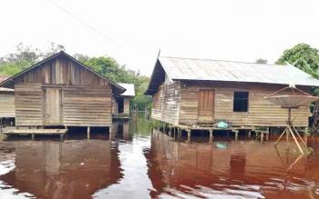 Desa Sei Ubar Mandiri, Kecamatan Cempaga Hulu yang sempat digenangi banjir beberapa hari lalu.