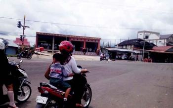 Simpang masuk perkantoran Pemda ini salah satu titik rawan terjadi kecelakaan lalu lintas