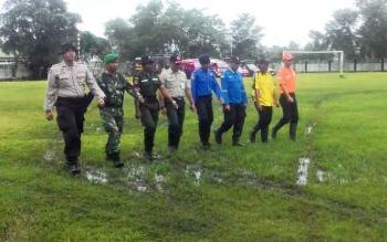 Perwakilan TNI, Polri, Satpol PP, Damkar, Balakar saat mengikuti upacara antisipasi Karhutla.