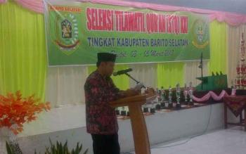 Sekretaris Daerah Barito Selatan, Edi Kristianto saat menutup STQ XXI Barito Selatan.