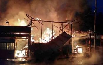 Musibah kebakaran menghanguskan dua bangunan di Jalan Abd Mahmud dan Jalan DAH Hamzah atau seberang Hotel Grand Kecubung, Pangkalan Bun, Selasa (7/3/2017) sekitar pukul 04.30 WIB.