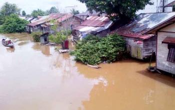 Kondisi wilayah disebagain kota Buntok mulai terancam banjir