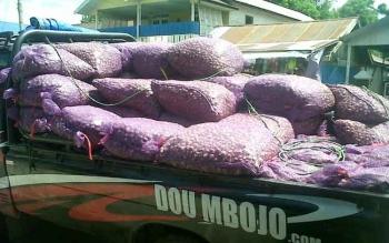 Mobil pikap bermuatan bawang merah dari Banjarmasin parkir di kawasan Pasar Kasongan, Kabupaten Katingan, untuk membongkar muatan, Sabtu (11/3/2017).