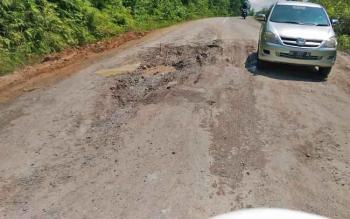 Titik jalan yang rusak di ruas penghubung Kuala Kurun - Palangka Raya, Sabtu (11/3/2017)