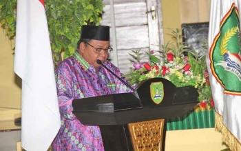 Bupati Sukamara, Ahmad Dirman saat menyampaikan sambutan dalam sebuah kegiatannya, beberapa waktu lalu.