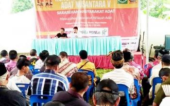 Kongres V Aliansi Masyarakat Adat Nusantara (AMAN) di Tanjung Gusta, Deli Serdang-Medan, Kamis (16/3/2017).\r\n