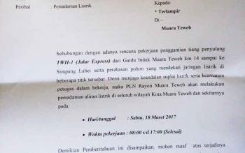 Surat edaran pemberitahuan pemadaman listrik dari PT PLN area Kuala Kapuas Rayon Muara Teweh.